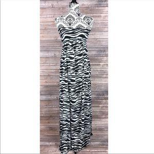 H&M Dress Size 6 zebra print strapless maxi long